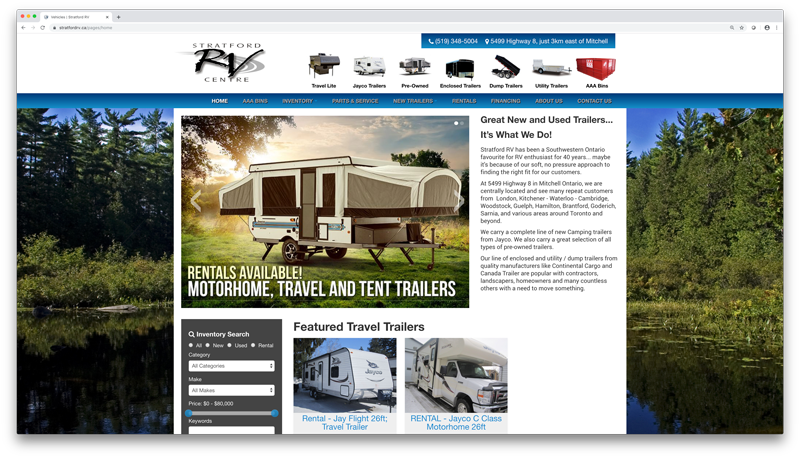 Dealer Gears | Trailer Dealer Home Page Screenshot