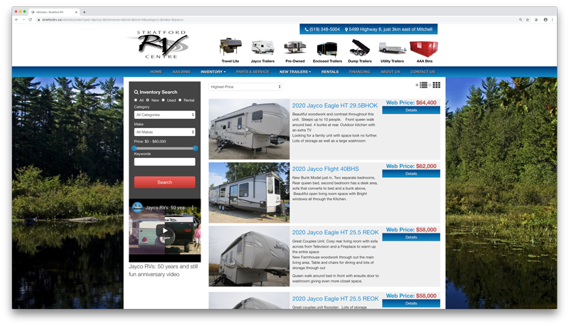 Dealer Gears | Trailer Dealer Inventory Page Screenshot