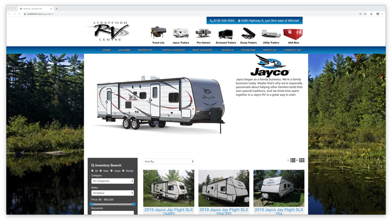 Dealer Gears | Trailer Dealer Jayco Page Screenshot
